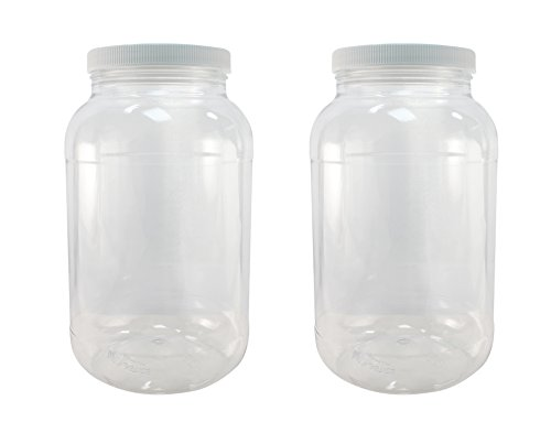 Pinnacle Mercantile 1 Gallon Plastic Jars with Screw on Lined Lids 2 Pack Wide Mouth Food StorageContainers