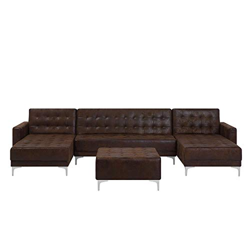 Modular U-Shaped Sofa Bed 3 Seater 2 Chaises Ottoman Brown Faux Leather Aberdeen