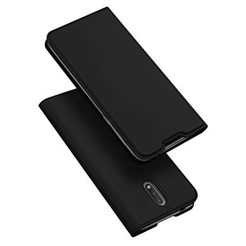 DUX DUCIS Hülle für Nokia 2.3, Leder Flip Handyhülle Schutzhülle Tasche Case mit [Kartenfach] [Standfunktion] [Magnetverschluss] für Nokia 2.3 (Schwarz)