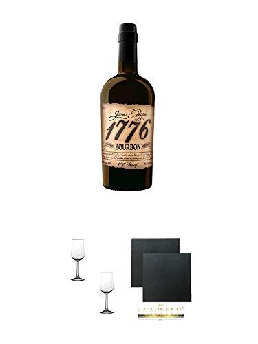 1776 Straight Bourbon Whiskey 0,7 Liter + Nosing Gläser Kelchglas Bugatti mit Eichstrich 2cl und 4cl - 2 Stück + Schiefer Glasuntersetzer eckig ca. 9,5 cm Ø 2 Stück