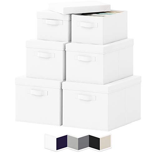 NEATERIZE Pack of 6 Storage Bins - Durable Storage Bins with Lids for Closet Storage Baskets - Portable Toy Box Baskets for Organizing - 2 Small 2 Medium 2 Large Storage Boxes with Lid - White