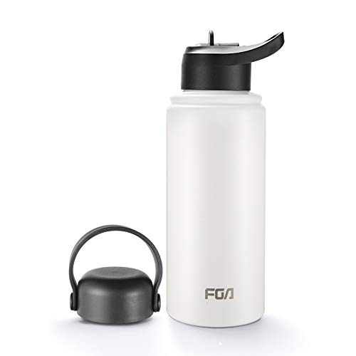 FGA Metal Water Bottle - Wide Mouth with 2 Leakproof Lids (Straw Lid), Double Walled Stainless Steel, Vacuum Insulated, Perfect for Outdoor Activities with Sweat Proof Sport Design 32oz - White