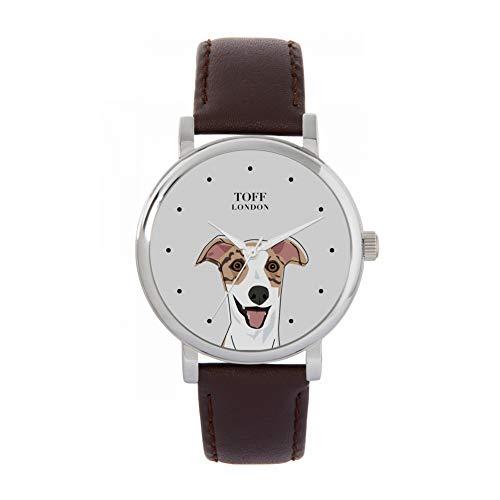 Toff London Reloj para Perro con Cabeza de Whippet Beige a Rayas