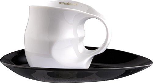 Faszination-Wohnen Designer Luigi Colani Serie ab OVO Black & White Kaffeetasse Kaffeebecher mit Untertasse