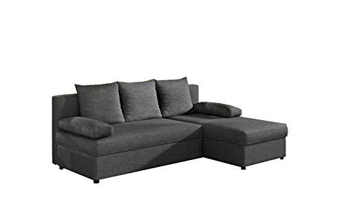 MOEBLO Ecksofa mit Schlaffunktion mit Bettkasten Couch L-Form Polstergarnitur Wohnlandschaft Polstersofa mit Ottomane Couchgranitur - ARON (Dunkelgrau (Sawna 05), Ecksofa Rechts)