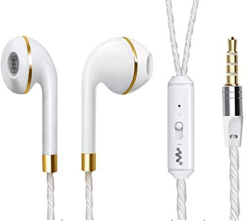 Anillo de Auriculares para Sony Xperia XZ Premium con micrófono Ajustable Manos Libres con Conector Universal (Dorado)