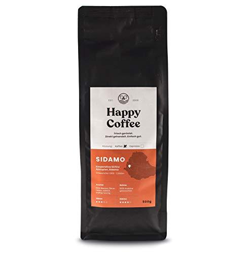 HAPPY COFFEE Bio Kaffee 500g [SIDAMO] Extra Stark I Frische fair-trade Kaffeebohnen direkt aus Äthiopien I Arabica Kaffee ganze Bohnen I Ideal für Vollautomat und Siebträger
