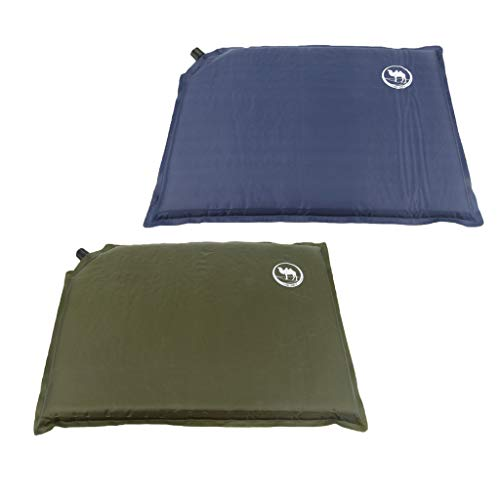 IPOTCH 2Pcs Outdoor Inflatable Seat Pad Travel Camping Moistureproof Seat Cushion with Storage Bag - Blue+Green