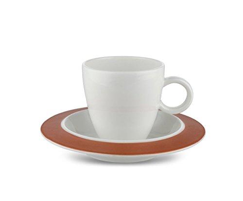 Alessi TAC1/76SCU Set, bestehend aus zwei Tassen mit Untertassen, Porcelain, weiß