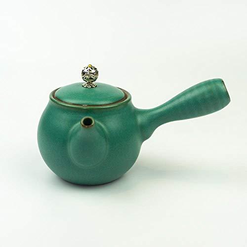 Klassische Japanische Kyusu Teekanne (grün) mit 250 ml | Kyusu Teekanne aus Keramik ideal für japanischen Tee