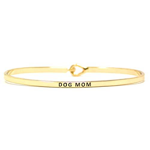 Me Plus Inspirational Dog MOM & CAT MOM Message Engraved Thin Bangle Hook Bracelet (Dog MOM - Gold)