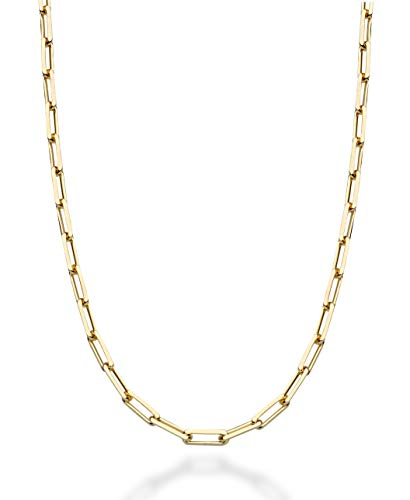 MiaBella Solid 18K Gold Over Sterling Silver Italian 3mm Diamond Cut Paperclip Link Chain Necklace for Women Men, 16, 18, 20, 22, 24, 26, 30 Inch 925 Made in Italy (22.0 Inches)