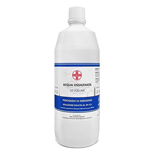 AIESI® waterstofperoxide desinfectiemiddel F.U. 3% 10 delen met kindveilige dop Fles van 1 liter # Gemaakt in Italië