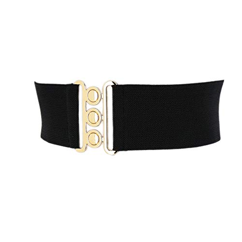 FASHIONGEN - Damen Breiter elastische gürtel, GLORIA, In Frankreich Hergestellt - Schwarz (Schnalle Golden), XL / 44 bis 46