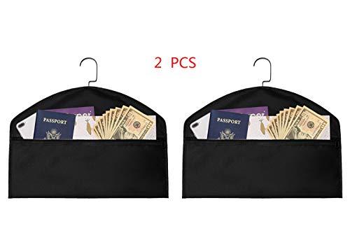 2pcs Hanger Diversion Safe, Hidden Pocket Safe, Fits Under Hanging Clothes with Pocket to Hide Valuables for Home or Travel (Black, A)