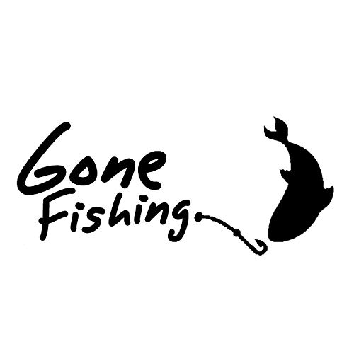 Pawnuc 10.2cm*4.1cm Gone Fishing Hooke Car Styling Vinyl Car Sticker (Color Name : Black)