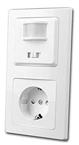 Delphi Bewegungsmelder & Steckdose Weiß UP 230V~ Unterputz 160° Wandsensor mit Schutzkontaktsteckdose im Doppelrahmen