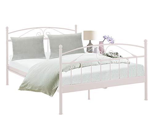 Loft24 Florenz Metallbett 140x200 cm Bettgestell Doppelbett Jugendbett Metall Bett Eisen (weiß)