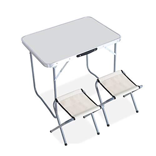 ZWJLIZI Mesa Plegable (1 Mesa y 2 sillas), Picnic al Aire Libre/Exposición/Mesa al Aire Libre de Aluminio portátil Barbacoa Calle (Color : B, Size : 70x50x60cm)