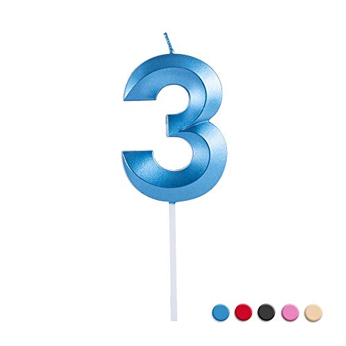 Birthday Candles Extended Big Number Candle Multicolor 3D Design Cake Topper Decoration for Any Celebration(3 Candle Blue)