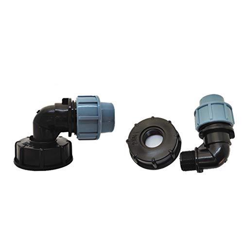 TOOLSTAR IBC Tankadapter, Wasserspeichertank, IBC S60X6 Adapter mit 25 mm MDPE Winkelverbinder, passend für britische und europäische IBC-Behälter