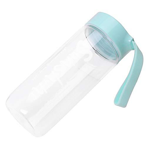 LUYANhapy9 Botella de agua portátil, 500 ml, de gran capacidad, para exteriores, transparente, de plástico, a prueba de fugas, boca ancha, tapa abatible, asa