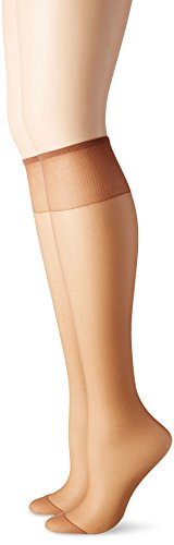 Hanes Silk Reflections Women's Knee High Reinforce Toe 2 Pack, Barely There, One Size