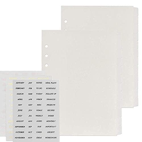 12-Tabs 6 Holes Transparent Binder Tabs Divider Index with Tab Stickers A5 Plastic Loose Leaf Refills Index Divider Separator Page for Spiral Planner Journal, 2 Pack (24Pcs Divider N 3 Stickers Set)