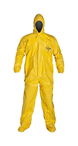 DuPont Tychem 2000 QC122T Disposable Chemical Resistant Coverall with Hood and Elastic Cuff, Yellow Size 3XL Tape Seams 1 Pack
