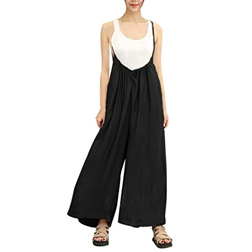 iYBUIA Cotton Wide Leg Pants for Women Vocation Dungarees Casual Jumpsuits Long Trousers Rompers(Black,XL)