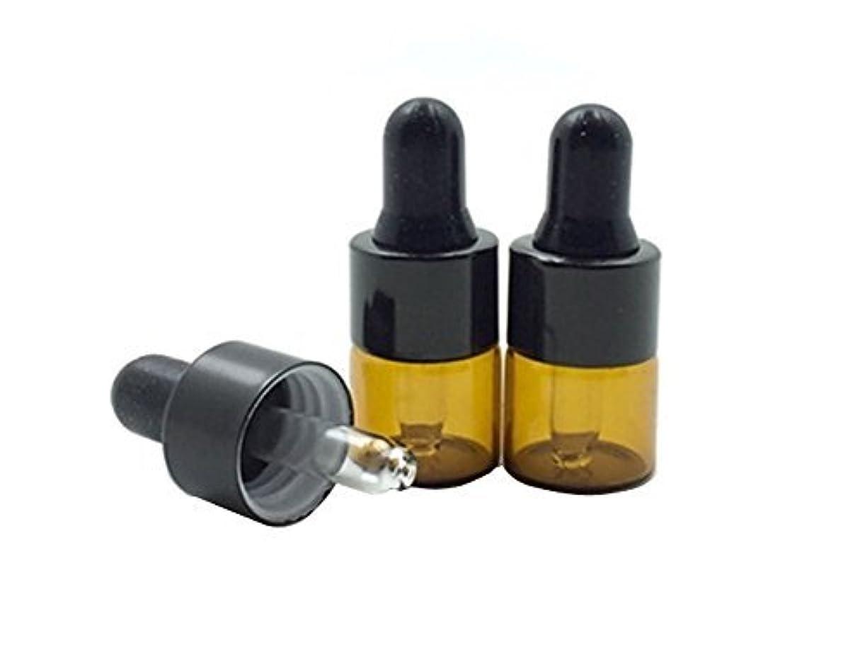 等しい同性愛者年15 Pcs Mini Tiny 1ml Amber Glass Dropper Bottles Refillable Essential Oil Bottles Vials With Eyed Dropper For Aromatherapy Eye Dropper Cosmetics (black cap) [並行輸入品]