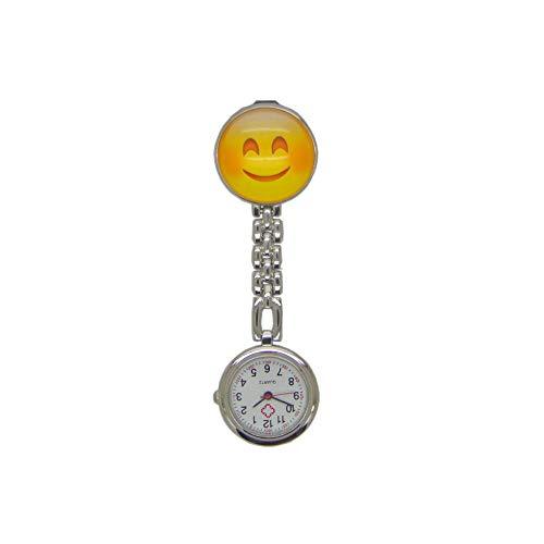 WTFYSYN Reloj Tipo Enfermera Cuarzo,Reloj de Bolsillo de Enfermera de Cristal, Tarjeta Redonda Lindo Emoticon Reloj de Bolsillo-1