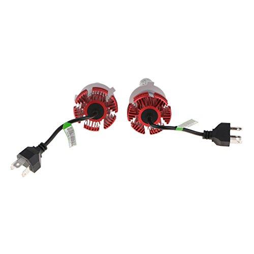 Sharplace 1 Paire Phare Voiture LED Lumière Lumineux 50W LED H4 6000LM Pièces Détachées Auto - Rouge