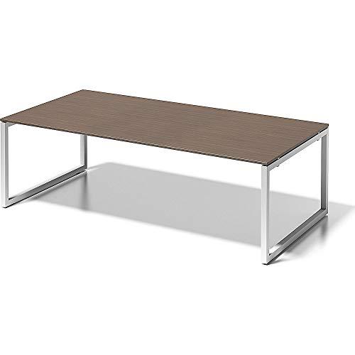 BISLEY Cito Chefarbeitsplatz/Konferenztisch, 740 mm höhenfixes O, H 19 x B 2400 x T 1200 mm, Metall, Wn396 Dekor Nußbaum, Gestell Verkehrsweiß, 120...