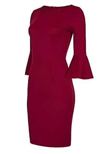 Laeticia Dreams Damen Kleid Knielang Trompetenärmel S M L XL, Farbe:Weinrot, Größe:42.XL