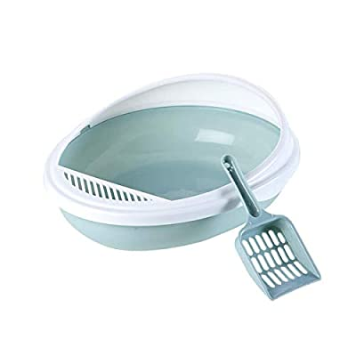 Uotyle Cat Litter Tray Pet Toilet Bedpan Anti Splash Cats Litter Box Cat Dog Tray with Scoop Kitten Dog Clean Toilette Home Plastic Sand Box Supplies,Blue