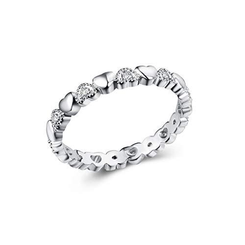 Goddesslili Engagement Rings for Women Girlfriend Round Diamond I Love You Vintage Retro Wedding Anniversary Jewelry Gift Under 5 Dollars Size 6 to 10 (7)