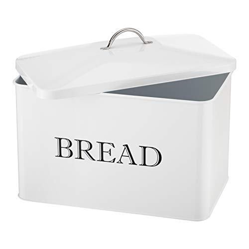 PARANTA Large Bread box - Bread Bin for Kitchen Counter for All Bread Storage Container Counter Organizer Farmhouse Kitchen with BREAD Lettering White 12.6'W x6.5'D x9.06'H