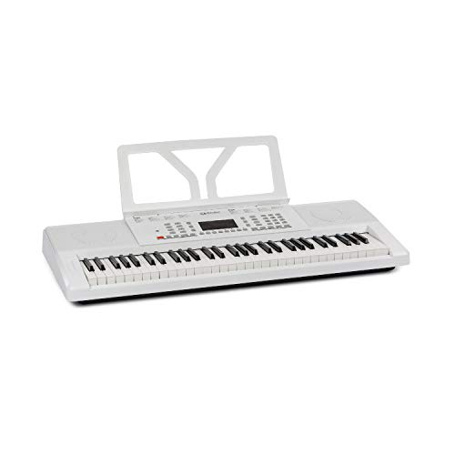 Schubert Etude 61 MK II Teclado digital - Teclado para ensayos, 61 Teclas, Función de grabación y aprendizaje, 50 canciones, 300 tonos/ritmos, Funciona con cable y con pilas, Atril, Blanco