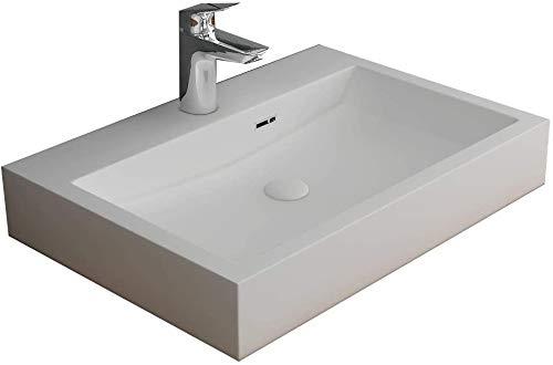 Alpenberger Aufsatz Waschbecken 60 x 42 cm aus Mineralguss | Handwaschbecken mit integriertem Überlauf | Eckiges & Elegantes Ausgussbecken | Leichte Montage