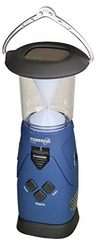 POWERplus Falcon Solar / Dynamo Kurbel / USB aufladbares LED Leuchte Lanterne, FM Scan Radio Notfall Ladegerät und personliches Alarm Blau Schwarz