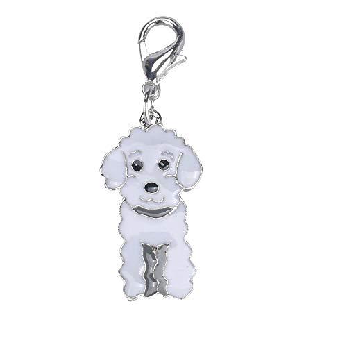Tonsee Hunde Halskette Halsbandschmuck Haustier Halsband Tag Disk Haustier ID Pudel Form Zubehör Halsband Hundeanhänger Kettenanhänger Halskette Anhänger Hundemarken (Weiß)