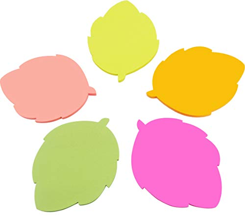 4A Shapes Sticky Notes,Leaf Shape,2.83 x 2.83 Inches,Neon Assorted,Self-Stick Notes,200 Sheets/Pad,1 Pad/Pack,4A 5061