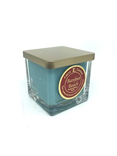 Circle E Barefoot Beach Scented Jar Candle | Size 8oz | 40 Hour Burn Time | 1 Wick | Wax Color Teal | Glass Jar | Made in USA