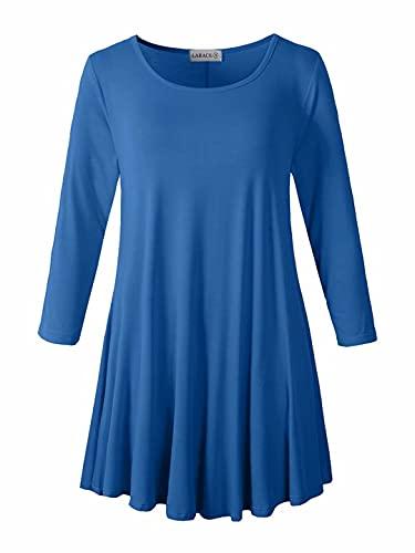 LARACE Women 3/4 Sleeve Tunic Top Loose Fit Flare T-Shirt(M, Steel Blue)