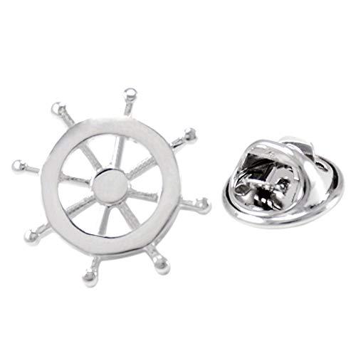B Baosity Ship Steering Wheel Badge Corsage Collar Brooch Label Pin Wedding Party Mens