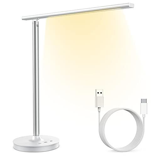 Lámpara Escritorio LED, Lámpara de Lectura Control Táctil con Puerto USB, 10 Niveles de Brillo, 5 Modos Lámpara de mesa Regulable con Función de Memoria para Recargar Smartphone