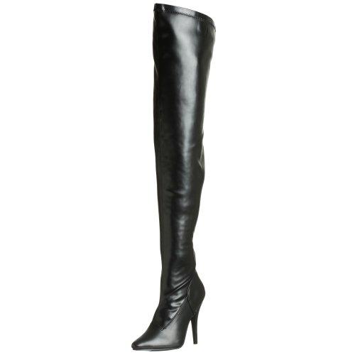 Pleaser High Heel Overknee Stiletto Domina SEDUCE-3000 Kunstleder schwarz, Gr??e F:8 US / 38