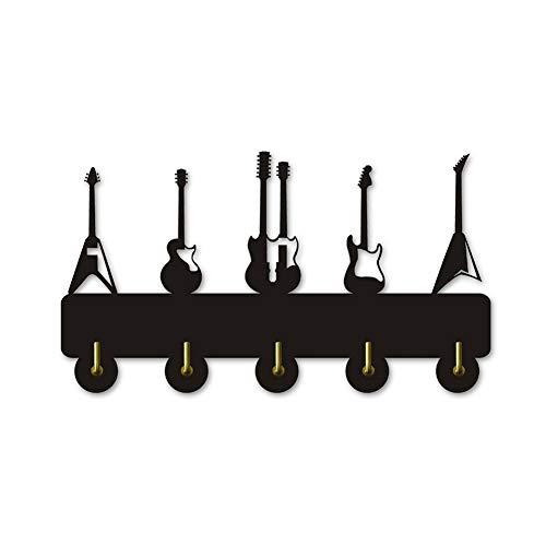 Hakenleiste Kleiderhaken Gitarre Instrument Form aus Holz Kleidung Hut Schlüssel Haken / Kleiderständer / Wandhaken moderne Dekoration Wandaufkleber Küche Bad Handtuchhaken, schwarz Dekoration Kleider