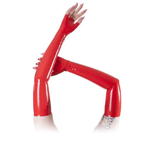 Rubberfashion sehr lange fingerlose Latex Handschuhe extra dick Latexhandschuhe bis zum Oberarm mit veredelter Oberfläche für Frauen Menge: 1 Paar rot L